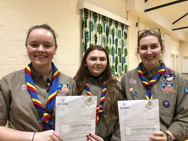 3 Explorers gain their Queen's Scout Awards
